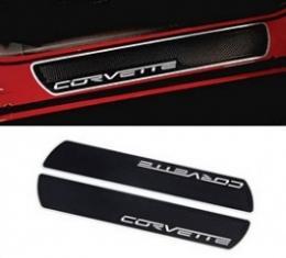 Corvette Door Sill Plate Protectors, Brushed Aluminum Corvette Logo, With Black Vinyl Overlay, 2005-2013