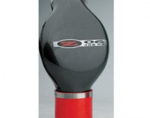 Corvette Air Intake Duct, With Z06/405HP Logo & Red Coupler,High Flow Carbon Fiber, 2002-2004