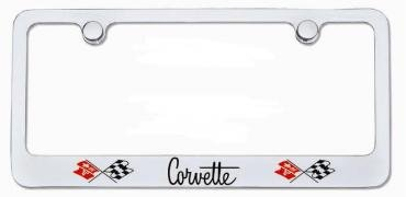 Corvette Elite License Frame, Corvette Script with Dual Logo