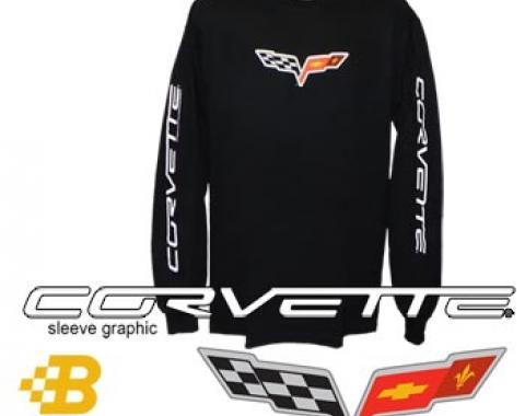 C6 Corvette Black Long Sleeved Shirt with Script on Sleeves
