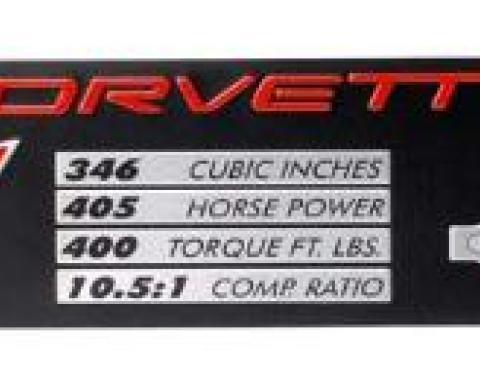 Corvette Data Spec Plate, Z06, 2002-2004