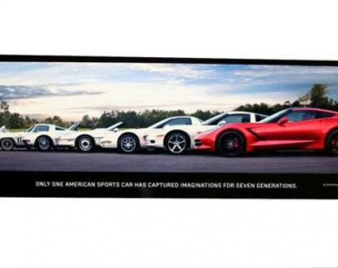 "Corvette Metal Sign, C7 ""Generations Poster"" 35"" X 12"""