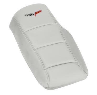 Corvette Console Cushion, with Embroidered C6 Logo, Arctic White, 2005-2013