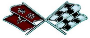Corvette Gas Door Emblem, With Crossed-Flags, Late 1968-1973