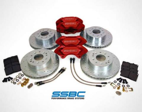 Corvette Brake Kit, SSBC, with Extreme 4 Piston Red Brake Calipers & Big Bite Rotors, Front/Rear, 1965-1982