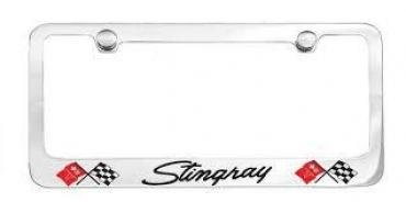 Corvette Elite License Frame, 69-76 Stingray Script with Dual Logo