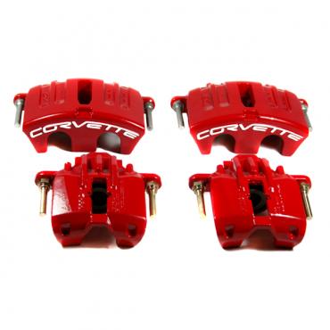 Corvette Remanufactured Brake Caliper Set, Powder Coated Red, 2005-2013