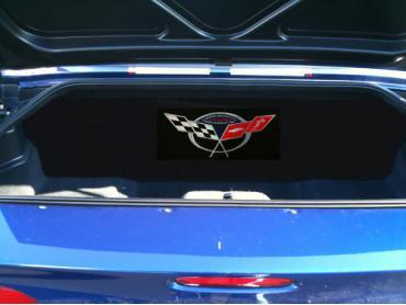 "Corvette Compartment Divider, With Carpet & Commemorative Logo, ""Quiet Ride"", 1999-2004"