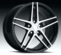 "Corvette C6/Z06 Black with Machine Face Wheel, 18"" x 8.5"", +56 Offset, 2005-2013"