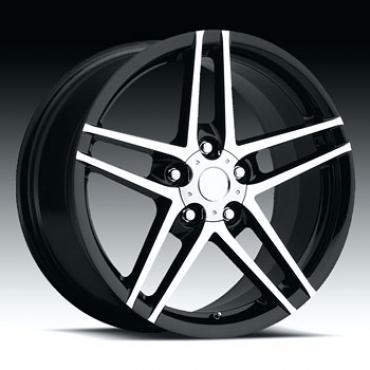 """Corvette C6/Z06 Black with Machine Face Wheel, 19"""" x 10"""", +79 Offset, 2005-2013"""