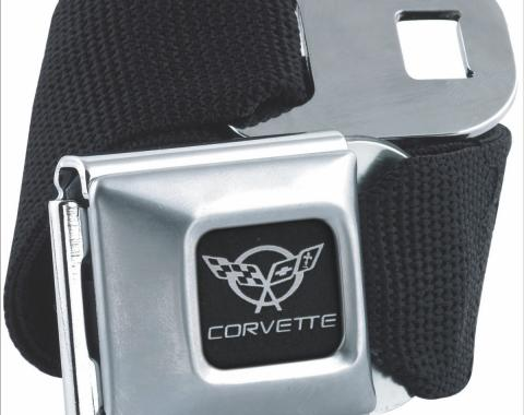 Corvette Seatbelt Belt, Black with C5 Logo