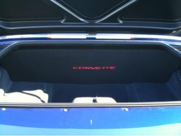 "Corvette Compartment Divider, With Carpet & C5 Script, ""Quiet Ride"", 1999-2004"