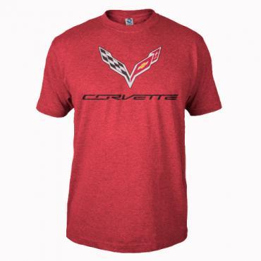 Corvette C7 Corvette Logo Flag T-Shirt, Red
