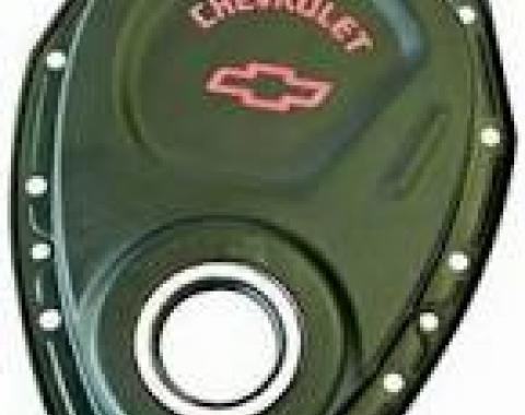 Corvette Black Crinkle Bowtie Timing Cover, 1969-1986