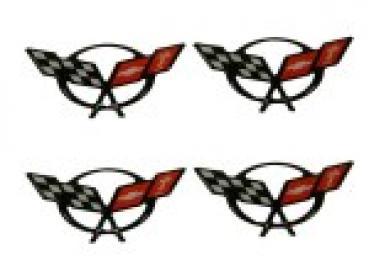 Corvette Center Cap Emblem Set, Domed, 1997-2004
