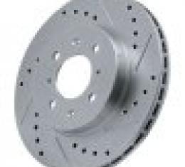 Corvette Brake Rotor, Left, Front, Slotted and Cross Drilled, 1965-1982