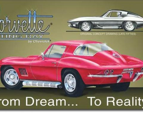 Corvette From Dream to Reality Tin Sign