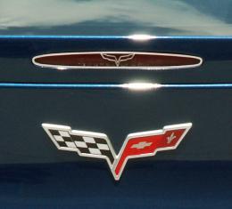 American Car Craft 2005-2013 Chevrolet Corvette 5th Brake Light Trim Crossed Flags Style GM Licensed 042115