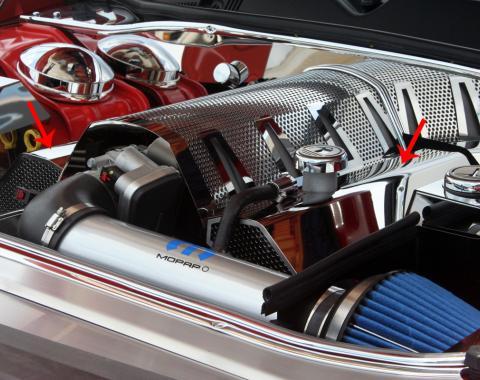 American Car Craft 2008-2019 Chevrolet Corvette Fuel Rail Covers Polished/Perf Plain w/factory air box 153025