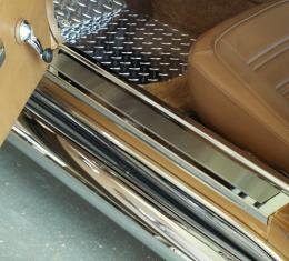 American Car Craft Doorsills Polished /w Satin Inserts Deluxe 2pc 011002
