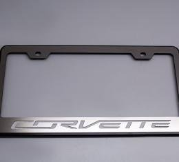 "American Car Craft Rear Tag Frame PowderCoatBlack w/Stainless Steel ""Corvette"" Lettering 052083-GNRD"
