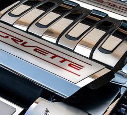 2014-2019 C7/Z51 Corvette - CORVETTE Style Fuel Rail Covers Factory Overlay 2Pc - Stainless Steel, Choose Color 053118