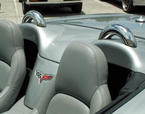 American Car Craft 2005-2013 Chevrolet Corvette Faux Roll Bars Polished Convertible 2pc 041007