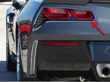 American Car Craft Chevrolet Corvette 2014-2018  Tail Light Trim Rings Polished 2pc 052019
