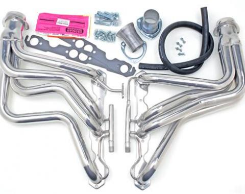 Corvette Hedman Headers, Full Length, with AIR & EGR, Polished Silver Ceramic Coated, 1987-1991