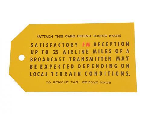 Corvette Card, FM Radio Antenna, 1967-1969