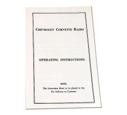 Corvette Card, Radio Instruction, 1953-1957