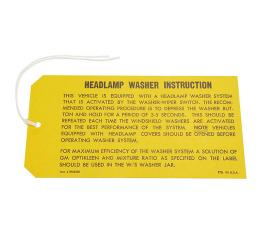 Corvette Instruction Tag, Headlamp Washer, 1969-1970