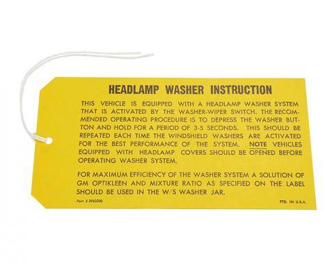 Corvette Instruction Tag, Headlamp Washer, 1969-1970