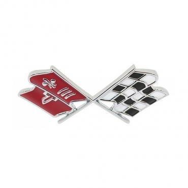 Corvette Emblem, Nose Crossflags, 1967