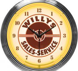 Neonetics Neon Clocks, Jeep Willys Sales Service Neon Clock