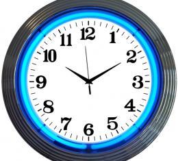 Neonetics Neon Clocks, Chrome Blue Standard Neon Clock