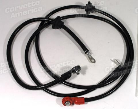 Corvette Battery Cables, Correct with Grommets, 1972-1974