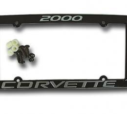 Corvette License Plate Frame, Corvette Black, 2000