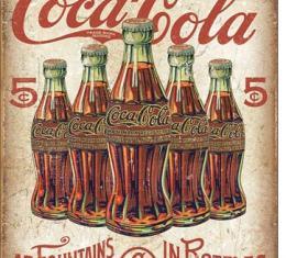 Tin Sign, COKE - 5 Bottles Retro
