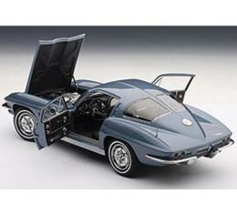 Corvette Model, Die Cast, 1/18th Scale, Silver Blue Coupe, 1963