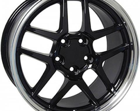 Corvette 18 X 10.5 Z06 Style Wheel, Black With Machined Lip, 1988-2004