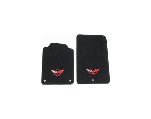 Auto Custom Carpet, Floor Mats, Tru-Vette, With Embroidery #146 Logo| 35872 Corvette 1997-2004 | 97-04 Black