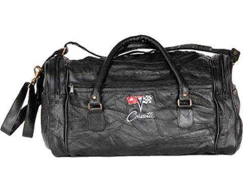 Corvette Leather Road Trip Bag With C2 Embroidered Emblem