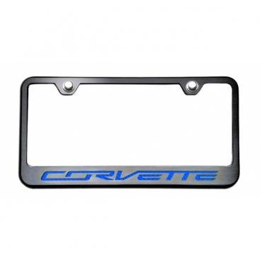 """American Car Craft Rear Tag Frame, Black, With Brushed Stainless """"Corvette"""" Lettering, Colored  052083 Corvette Stingray 2014-2017"""