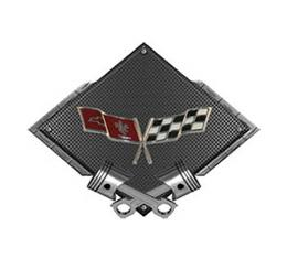 "Corvette C3 1977-1979 Crossed Flags Emblem Metal Sign, Black Carbon Fiber, Crossed Pistons, 25"" X 19"""