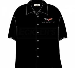 Corvette Camp Shirt, David Carey Design, C6 Logo, Black