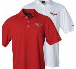 Corvette C6  Polo Shirt, Men's, Nike Golf Dri-Fit, 60th Anniversary Emblem, White