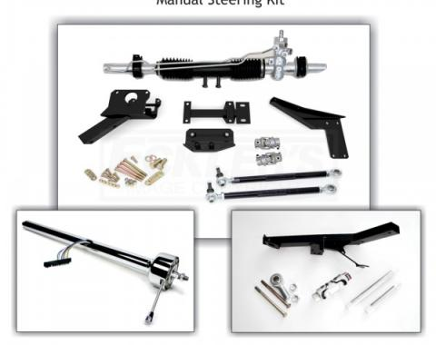 Corvette Rack & Pinion Conversion Kit, Steeroids, Manual Chrome Column With Headers, 1955-1957
