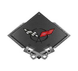 "Corvette C5 1997-2004 Emblem Metal Sign, Black Carbon Fiber, Crossed Pistons, 25"" X 19"""