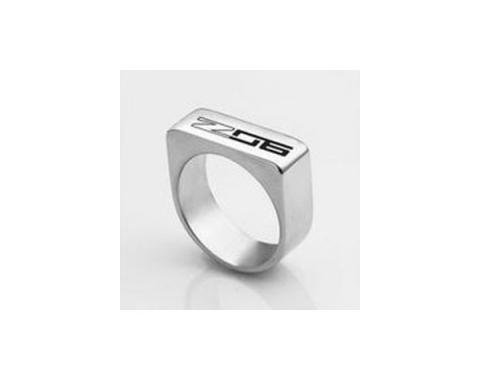 Corvette C7 Z06 Polished Stainless Ladies Flat Top Ring